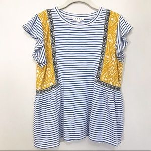 Anthropologie THML Striped Embroidery Tee Top